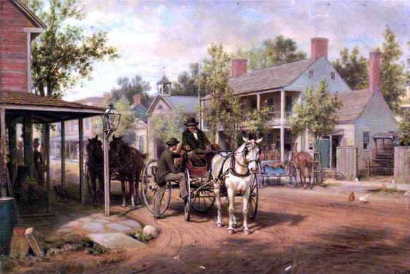 Edward Lamson Henry Horse and Buggy on Main Street - Canvas Art Print