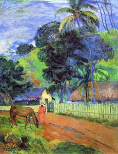 Paul Gauguin Horse on Road, Tahitian Landscape - Canvas Art Print
