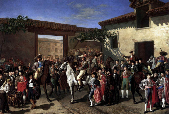 Manuel Castellano Horses in a Courtyard by the Bullring before the Bullfight, Madrid - Canvas Art Print