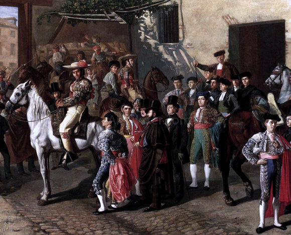 Manuel Castellano Horses in a Courtyard by the Bullring before the Bullfight, Madrid (detail) - Canvas Art Print