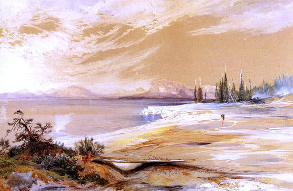 Thomas Moran Hot Springs on the Shore of Yellowstone Lake - Canvas Art Print