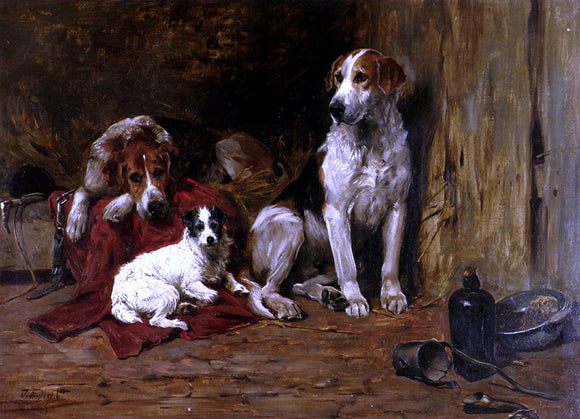 John Emms Hounds and a Jack Russell in a Stable - Canvas Art Print