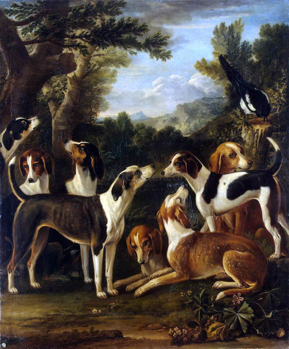 John Wootton Hounds and a Magpie - Canvas Art Print