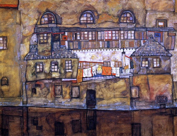 Egon Schiele House on a River (also known as Old House I) - Canvas Art Print