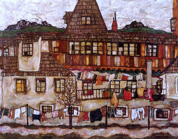 Egon Schiele House with Drying Laundry - Canvas Art Print