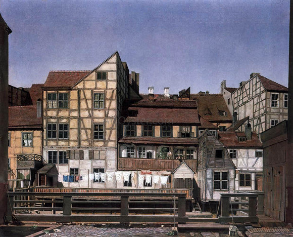 Ludwig Deppe Houses at a Millrace - Canvas Art Print