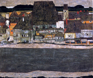 Egon Schiele Houses by the River II (also known as The Old City II) - Canvas Art Print