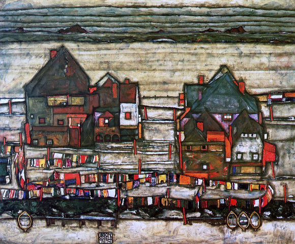 Egon Schiele Houses with Laundry (also known as Seeburg II) - Canvas Art Print