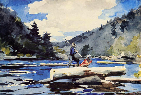Winslow Homer Hudson River, Logging - Canvas Art Print