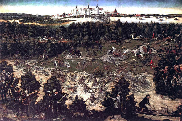 The Elder Lucas Cranach Hunt in Honour of Charles V at the Castle of Torgau - Canvas Art Print