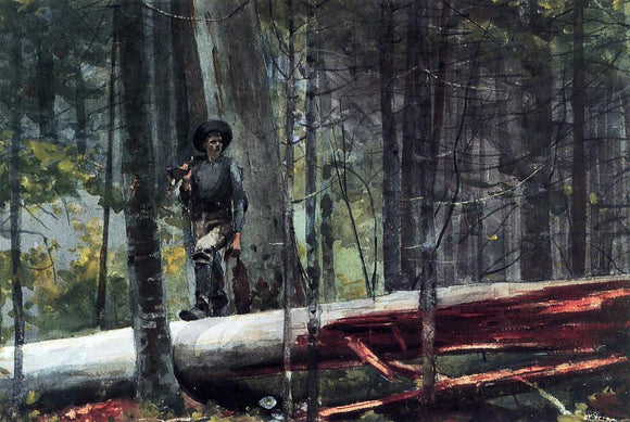 Winslow Homer Hunter in the Adirondacks - Canvas Art Print
