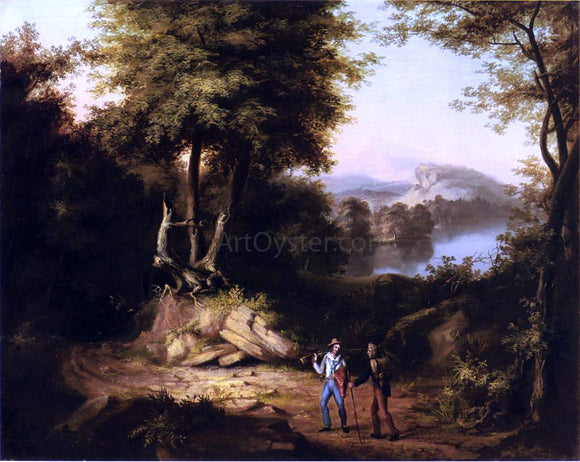 Alvan Fisher Hunters in a Landscape - Canvas Art Print