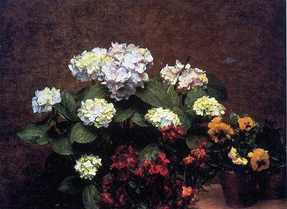 Henri Fantin-Latour Hydrangias, Cloves and Two Pots of Pansies - Canvas Art Print
