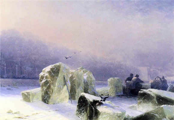 Ivan Constantinovich Aivazovsky Ice-Breakers on the Frozen Neva in St. Petersburg - Canvas Art Print
