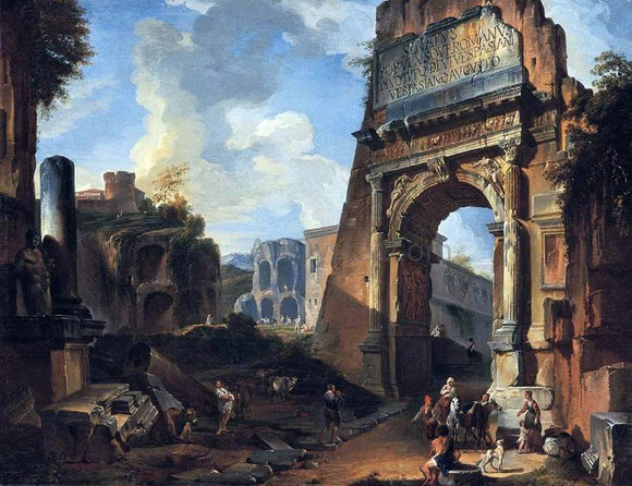 Giovanni Paolo Pannini Ideal Landscape with the Titus Arch - Canvas Art Print