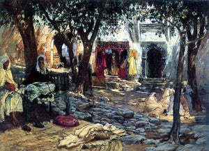 Frederick Arthur Bridgeman Idle Moments: An Arab Courtyard - Canvas Art Print
