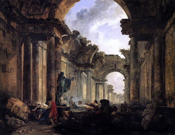 Hubert Robert Imaginary View of the Grande Galerie in the Louvre in Ruins - Canvas Art Print