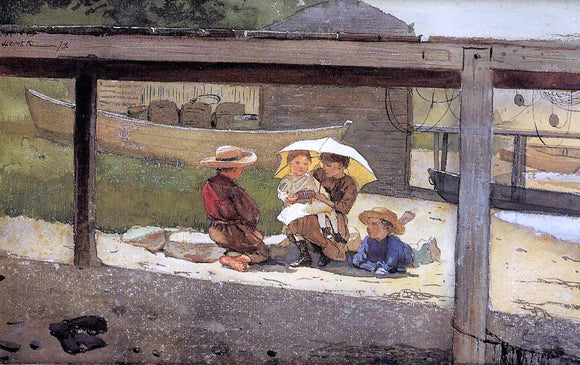 Winslow Homer In Charge of Baby - Canvas Art Print