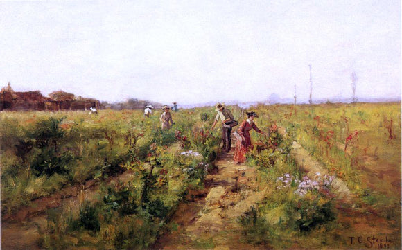 Theodore Clement Steele In the Berry Field - Canvas Art Print