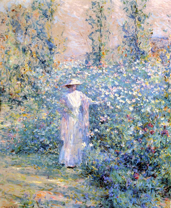 Robert Lewis Reid In the Flower Garden - Canvas Art Print