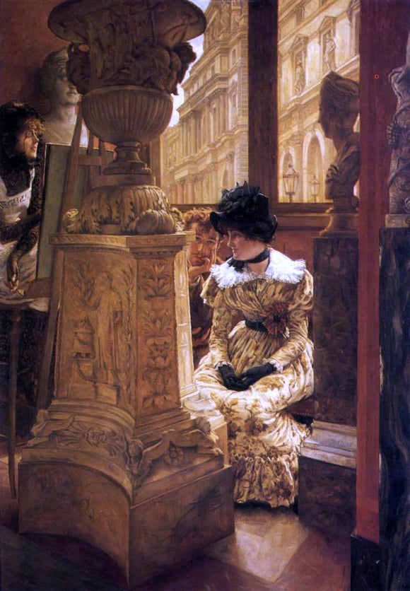 James Tissot In the Louvre - Canvas Art Print