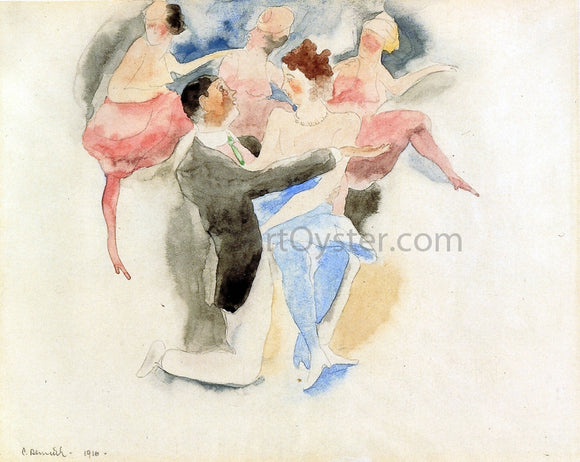 Charles Demuth In Vaudeville: Man and Woman with Chorus - Canvas Art Print