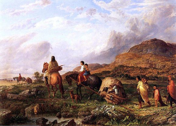 Seth Eastman Indian Mode of Transportation - Canvas Art Print