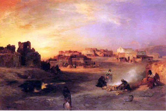 Thomas Moran Indian Pueblo, Laguna, New Mexico - Canvas Art Print