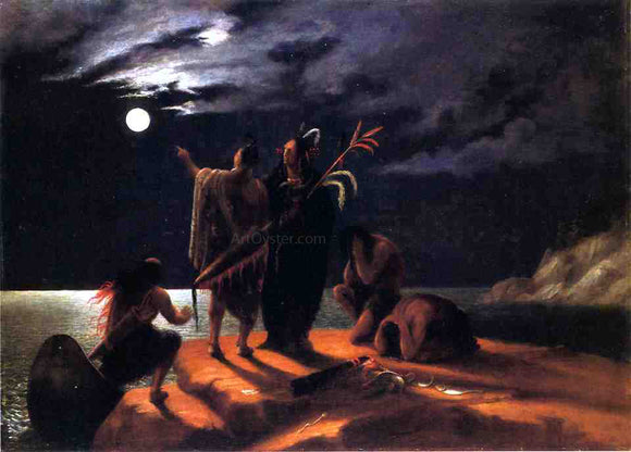 William Rimmer Indians Experiencing a Lunar Eclipse - Canvas Art Print