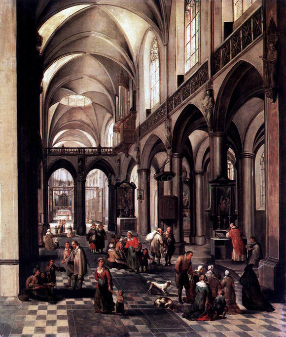 The Elder Peeter Neeffs Interior of a Flemish Church - Canvas Art Print