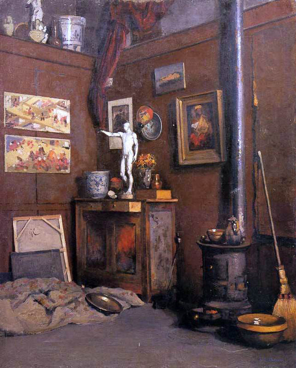 Gustave Caillebotte Interior of a Studio with Stove - Canvas Art Print