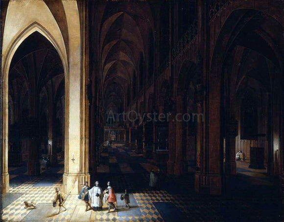 The Elder Peeter Neeffs Interior of Antwerp Cathedral at Night - Canvas Art Print