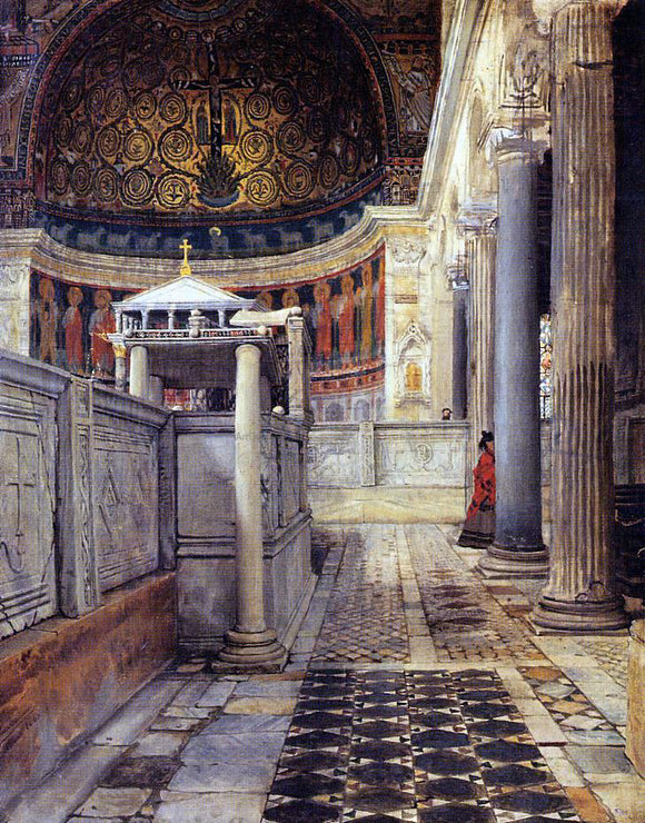 Sir Lawrence Alma-Tadema Interior of the Church of San Clemente, Rome - Canvas Art Print
