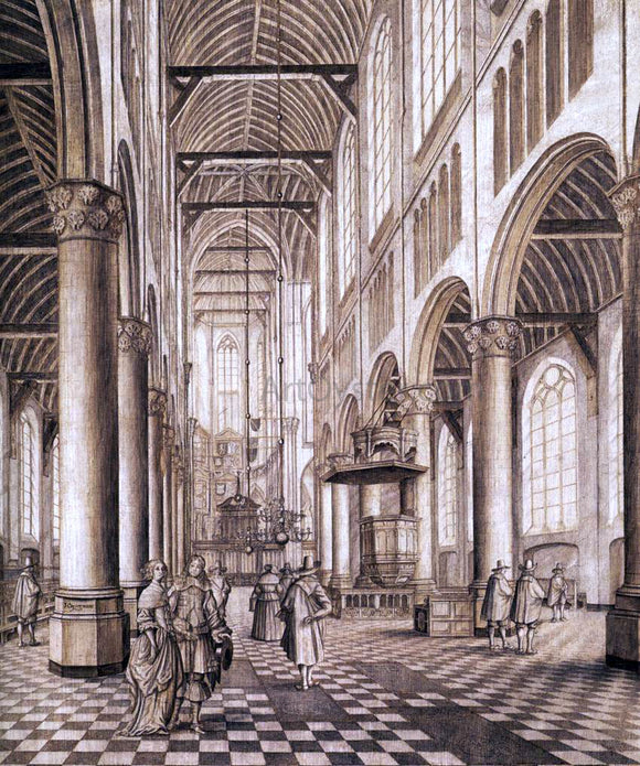 Johannes Coesermans Interior of the Nieuwe Kerk, Delft - Canvas Art Print