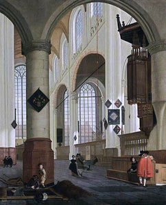 Cornelis De Man Interior of the Oude Kerk in Delft - Canvas Art Print