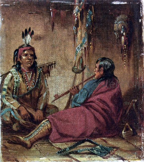 John Mix Stanley Interior of Wigwam - Canvas Art Print