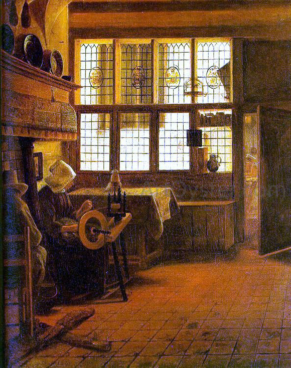 Esaias Boursse Interior with a Woman at a Spinning Wheel - Canvas Art Print