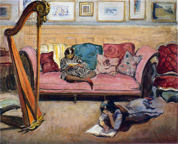 Henri Lebasque An Interior with Harp - Canvas Art Print