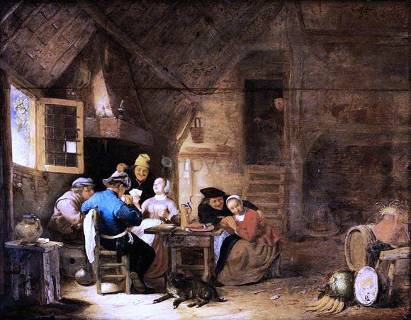 Hendrick Maertensz Sorgh Interior with Peasants Playing Cards - Canvas Art Print