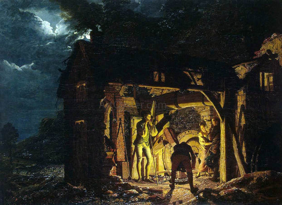 Joseph Wright Iron Forge Viewed from Outside - Canvas Art Print