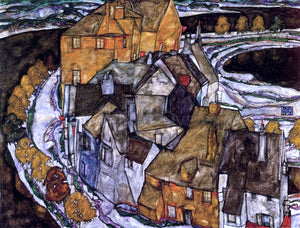 Egon Schiele Island Town (also known as Krumau Town Crescent II) - Canvas Art Print