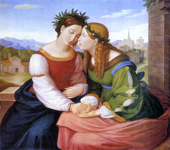 Johann Friedrich Overbeck Italia and Germania - Canvas Art Print