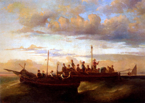 Adolphe-Joseph-Thomas Monticelli Italian Fishing Vessels at Dusk - Canvas Art Print