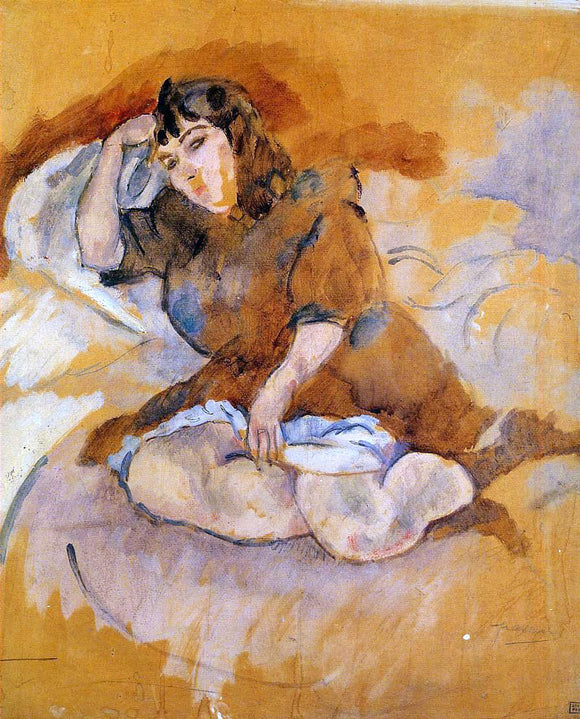 Jules Pascin Italian Girl, Seated - Canvas Art Print