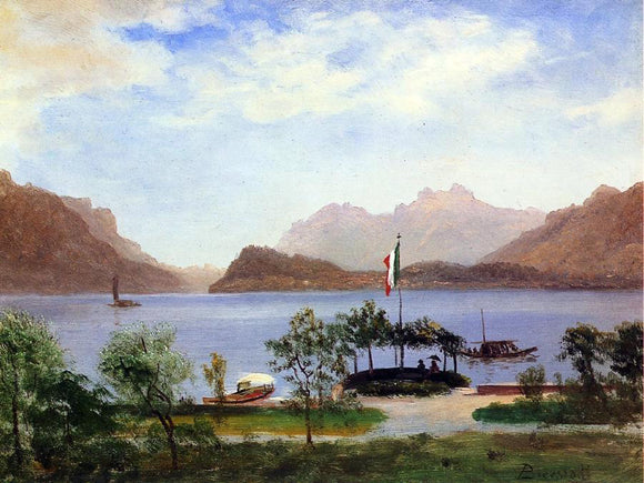 Albert Bierstadt Italian Lake Scene - Canvas Art Print