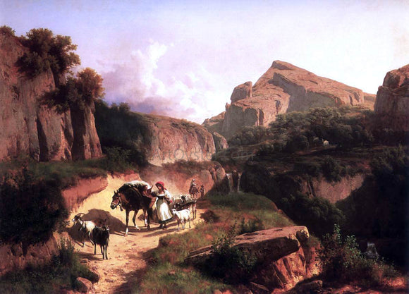 Andres Marko Italian Landscape with Sheperdess - Canvas Art Print