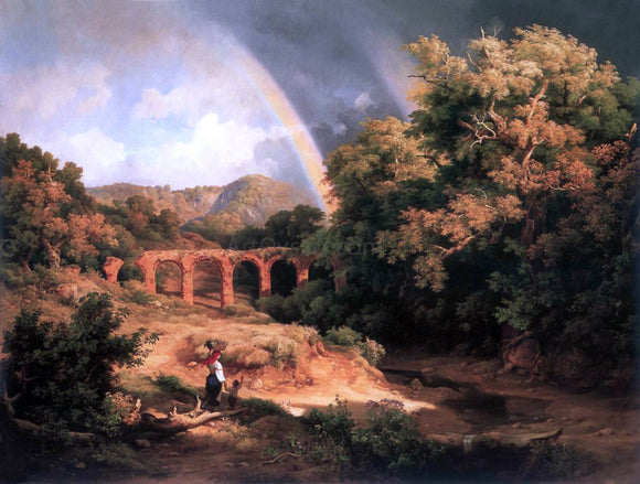 The Elder Karoly Marko Italian Landscape with Viaduct and Rainbow - Canvas Art Print