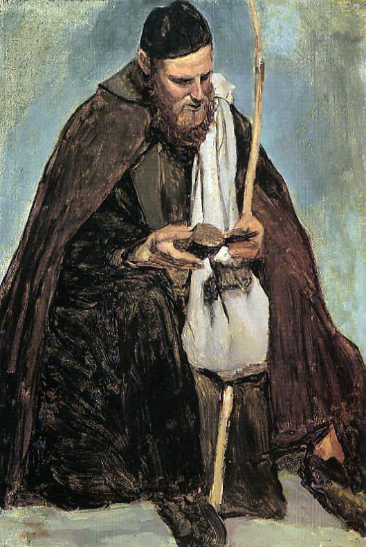 Jean-Baptiste-Camille Corot Italian Monk Reading - Canvas Art Print