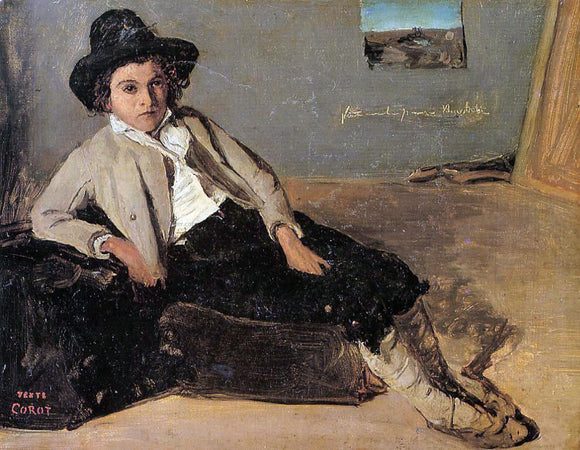 Jean-Baptiste-Camille Corot Italian Youth Sitting in Corot's Room in Room - Canvas Art Print