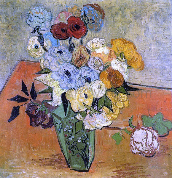 Vincent Van Gogh Japanese Vase with Roses and Anemones - Canvas Art Print